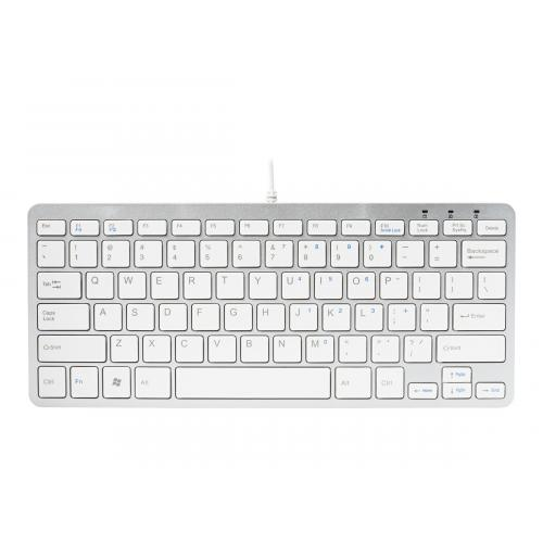 R-GO COMPACT Keyboard, QWERTY(US) - keyboard - QWERTY -  White Silver