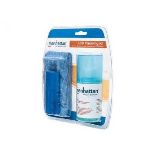 Manhattan LCD Cleaning Kit, Alcohol-free, Includes Cleaning Solution, Brush and Microfibre Cloth, Blister