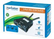 Manhattan KVM Switch Mini 2-Port, 2x USB-A, Cables included, Audio Support, Control 2x computers from one pc/mouse/screen, Black, Boxed