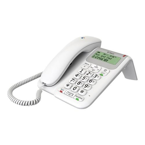 Corded telephone, 50 name and number directory, caller display, handsfree, secrecy button, last number redial, 30 number call list