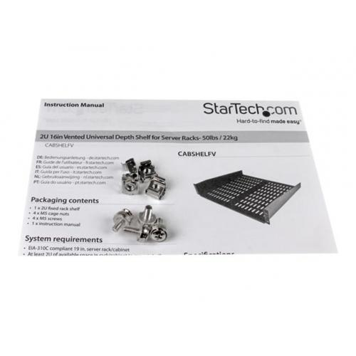 StarTech.com 2U 16in Universal Fixed Vented Rack Mount Cantilever Shelf