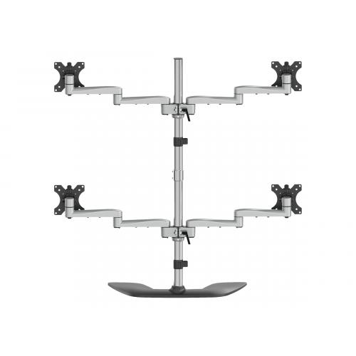 "StarTech.com Desktop Quad Monitor Stand, Ergonomic VESA 4 Monitor Arm (2x2) up to 32"", Free Standing Articulating Universal Pole Mount, Height Adjustable/Tilt/Swivel/Rotate, Silver"