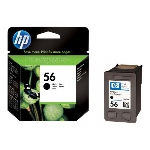 The HP no. 56 black inkjet print cartridge features pigmented black ink formulated for crisp, laser-quality, fade-resistant text every time. HP supplies and printers are designed to work together as a printing system to ensure consistently clear, sharp re