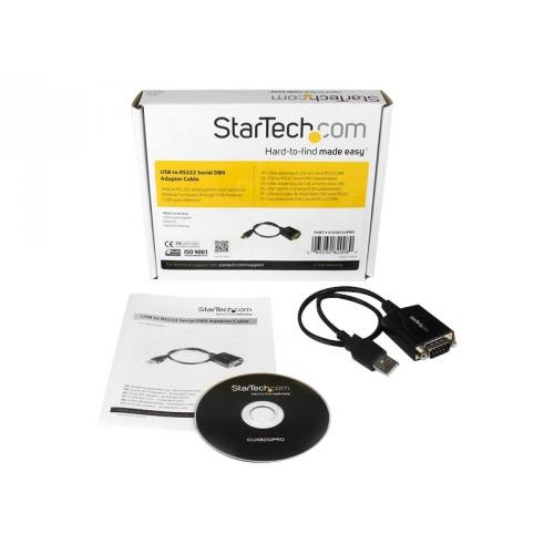 StarTech.com 1 ft USB to RS232 Serial DB9 Adapter Cable with COM Retention