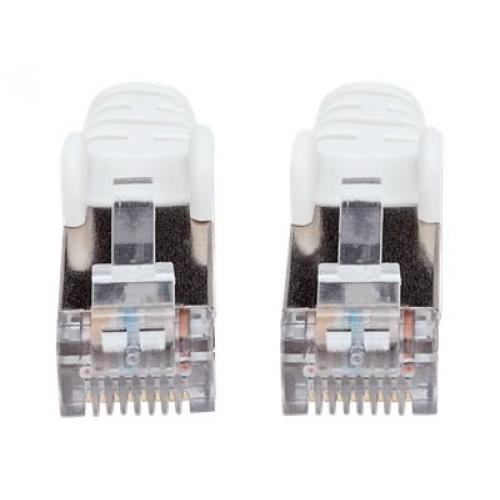 Intellinet Network Patch Cable, Cat7 Cable/Cat6A Plugs, 7.5m, White, Copper, S/FTP, LSOH / LSZH, PVC, RJ45, Gold Plated Contacts, Snagless, Booted, Polybag